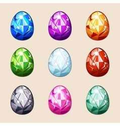 Colorful crystal easter eggs vector