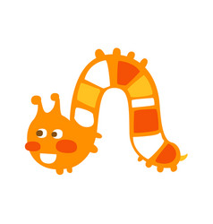 cute cartoon orange caterpillar colorful character vector image