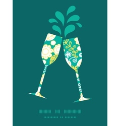 Emerald flowerals toasting wine glasses vector