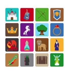 Fairy tale flat icons vector
