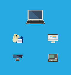 Flat icon laptop set of notebook pc computer vector