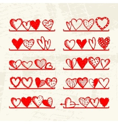Funny hearts on shelves sketch drawing for your vector image vector image
