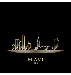 Gold silhouette of miami on black background vector
