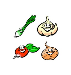 green onion garlic radish onion vector image vector image