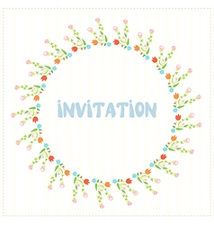 Greeting card ior invitation with flower circle vector image vector image