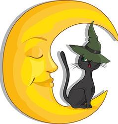 Halloween cat design vector image vector image