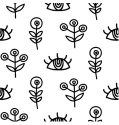 hand drawn eyes and scandinavian plants vector image vector image