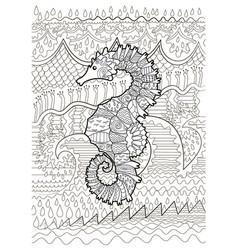 Hand drawn swimming sea horse vector