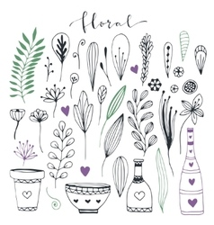 Handdrawn floral doodle collection cute vector
