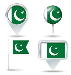 Map pins with flag of Pakistan vector image