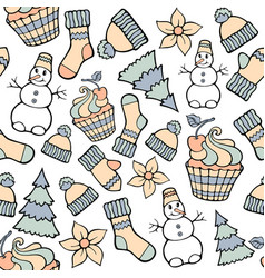Modern funny color seamless holiday pattern hand vector