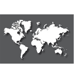 Political world map with shadow isolated on gray vector