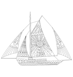 Sailing boat coloring for adults vector