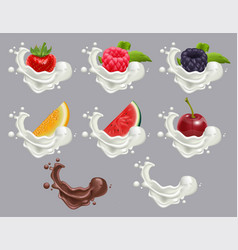 Set dessert of ripe berry fruit and cream vector