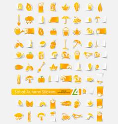 Set of autumn stickers vector