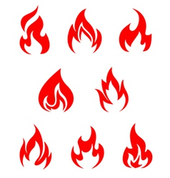 Set of fire flames vector image vector image