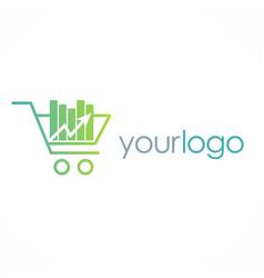 shopping cart business logo vector image