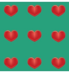 Small red hearts on a green background vector image vector image