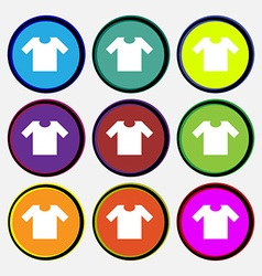 T-shirt icon sign nine multi colored round buttons vector