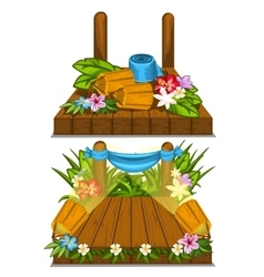 Wooden stage with flower decoration outdoor vector
