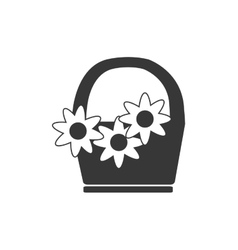 Basket flowers spring silhouette icon vector
