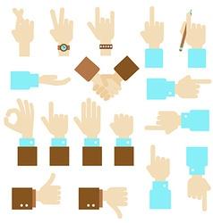 Hand flat design set with okay gesture vector image