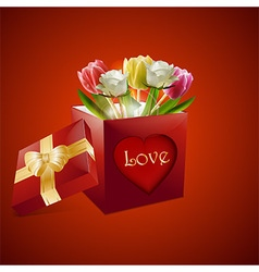 Valentine roses and tulips gift box background vector