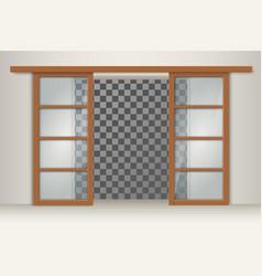 Two sliding wooden doors vector