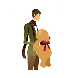 Man holding teddy bear vector