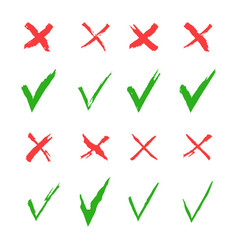 red cross and green tick set yes and no vector image