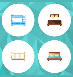 Flat set of hostel bunk bed cot and other vector