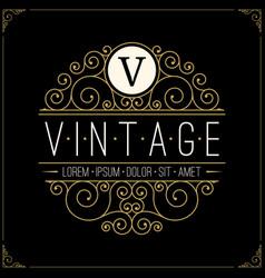 vintage luxury logo line art retro logotype vector image