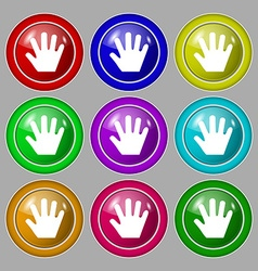 Hand icon sign symbol on nine round colourful vector