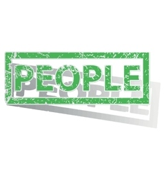 Green outlined people stamp vector