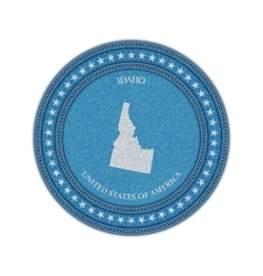 Label with map of idaho denim style vector
