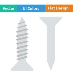 Flat design icon of screw and nail vector