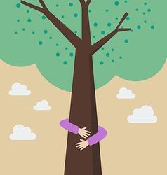 Kid hands hug tree vector
