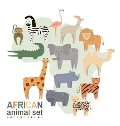 African animals in geometric flat style vector image