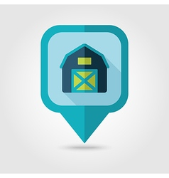 Barn house flat pin map icon map pointer vector
