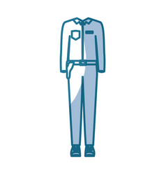 Blue silhouette shading of male uniform clothing vector