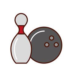 Bowling pin and ball cartoon vector