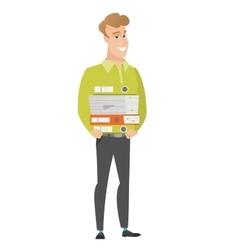 Businessman holding pile of folders vector