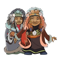 cartoon man with a woman of the Far North vector image vector image