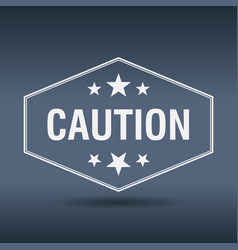 Caution hexagonal white vintage retro style label vector