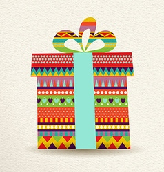 Christmas gift box in fun colors vector