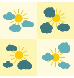 Clouds flat icons on yellow background with sun vector image vector image