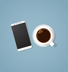 Coffee break with phone vector image vector image