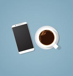 Coffee break with phone vector