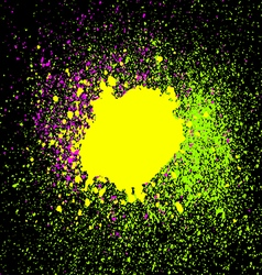 Colorful acrylic paint splatter blob on black vector