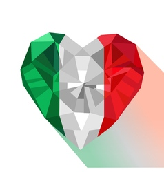 Crystal gem jewelry italian heart with the flag of vector
